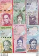 Venezuela 6 Billets En AU-UNC/SPL+ Lot N°7 (5000 Et 20000 Bolivares 2016 FORTE COTE Numéros Des Billets Peuventchanger - Venezuela