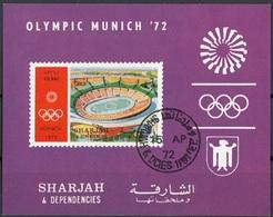 Sharjah 1972 Bf. 90B Olympic Munich Stadio Olimpico Sheet Imperf. CTO - Sharjah