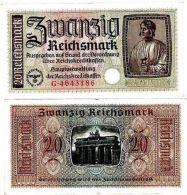 Allemagne GERMANY BILLET 20 Reichsmark 1939 1944 P.R139 CROIX  SWASTIKA WWII - [ 4] 1933-1945 : Troisième Reich