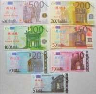LOT SET SERIE 7 BILLETS EURO ECHANTILLON TEST NOTE CHINOIS SANS VALEUR - Unclassified