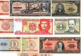 LOT SET SERIE 10 BILLETS DIFFERENTS Cuba PESOS 1959 - 2004 BON ETAT - Cuba