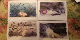 4 PCs Lot - Fairy Tale / THUMBELINA   - OLD  USSR Postcard  - Poucette -  SWALLOW BIRD - Fairy Tales, Popular Stories & Legends