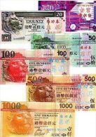 LOT SET SERIE 6 BILLETS  HoNG KONG $ ECHANTILLON TEST NOTE CHINOIS SANS VALEUR - Billets