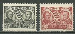 POLAND MNH **  623-624 FESTIVAL NATIONAL DE MUSIQUE. COMPOSITEUR. CHOPIN. MONLUSZKO - 1944-.... Republik