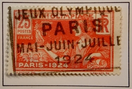 1924 FRANCE Y&T 184 Olympic Games / Centre Déplacé Trait Blanc Très Net Dessous De Olympiade Haut Coiffe / Oblitéré - France