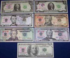 LOT SET SERIE 7 BILLETS  ETATS UNIS USA DOLLARS TEST NOTE CHINOIS SANS VALEUR - Billets