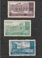 Chine Lot De 3 Timbres Année 1952 - YT 947 à 949 - Neuf Sans Gomme - Chine