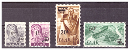 SAAR/SARRE - 1947 - TIPI DEI FRANCOBOLLI PRECEDENTI SOPRASTAMPATI IN FRANCHI,  CON DIFETTI. -  MNH** - 1947-56 Occupazione Alleata