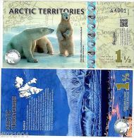 Arctic TERRITOIRES Billet 1 1/2 POLAR 2014 POLYMER OURS POLAIRE NEUF UNC - Billets