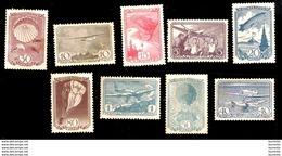 7388  Russia - Parachutes - Avions - Zeppelins - Yv 676-84 - No Gum - 18,00 (60) - 1923-1991 URSS