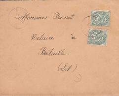 LSC 1907 - Cachet ALVIGNAC (Lot) Sur Type Blanc 5c YT 111 Au Dos Cachet Au Dos Cachet BETAILLE - Marcophilie (Lettres)