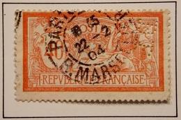1900 FRANCE Y&T 119c Type Merson Sans Teinte De Fond Perforé BP / Oblitéré Paris Rue Marsellier 1904 - 1900-27 Merson