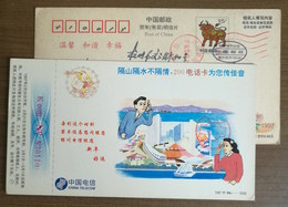 Urban Train,ship,phone Communication,China 1997 China Telecom 200 IP Telephone Card Advertising Pre-stamped Card - Trains