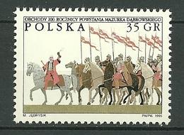POLAND MNH ** 3359 Hymne National Dabrowski Mazurka, Groupe De Cavaliers, Cheval, Chevaux - 1944-.... Republic