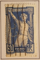 1924 FRANCE Y&T 186 Olympiade 1924 Défaults 50  Touchant La Cartouche Et Blanc En Haut De La Cartouche  / Perforé CC - Oblitérés