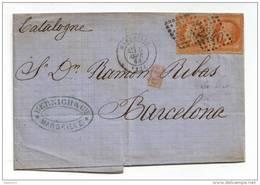 031. LSC 2ex. N°31 Orange-Vif - De Marseille à Barcelone (ESPAGNE) - Arrivée Au Verso - 1868 - 1849-1876: Klassieke Periode