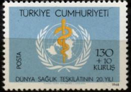 Turkey 1968 World Health Organization 20 Year 1 Value MNH WHO Emblem Esculaap - WHO
