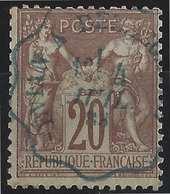 "1876 Sage N/B N°67 20c Brun Oblitéré Dateur Ondulé Bleu !! Convoyeur Ligne ""Evian à Bellegarde""  Superbe R - 1876-1878 Sage (Type I)"