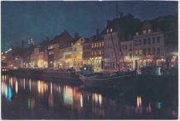 Kobenhavn, Copenhagen, Nyhavn, Ved Nat, At Night, Unused Postcard [22193] - Denmark