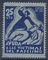 Spain Civil War Republican Label MH 25 Cts Red Aid Socorro Rojo Internacional Ayuda A Las Victimas Del Fascismo - Emissioni Repubblicane