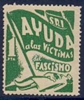 Spain Civil War Republican Label MH 1 Pta Red Aid Socorro Rojo Internacional Ayuda A Las Victimas Del Fascismo - Emissioni Repubblicane