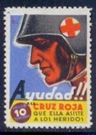 Spain Civil War Republican Label MH 10 Cts Red Cross Ayudad A La Cruz Roja Que Ella Asiste A Los Heridos - Emissioni Repubblicane