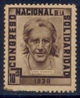 Spain Civil War Republican Label MH 10 Cts Congreso Nacional De La Solidaridad 1938 Elena Stassova - Emissioni Repubblicane