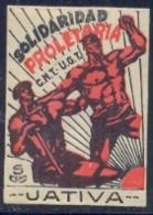 Spain Civil War Republican Label MH 5 Cts Jativa Solidaridad Proletaria CNT-UGT - Emissioni Repubblicane