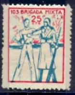 Spain Civil War Republican Label MH 25 Cts 103° Brigada Mixta - Emissioni Repubblicane