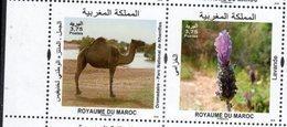 MOROCCO, 2018, MNH, FAUNA, FLORA, CAMELS, FLOWERS, 2v - Stamps