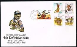 ZAMBIE - FDC Du 11/11/1981 -Série Courante / Artisanat - Zambie (1965-...)