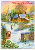 Merry Christmas  -- Carte Double  Paysage De Neige ,village ,boite Aux Lettres -- Format   10 X 14.5 - Natale