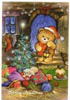 Merry Christmas  -- Carte Double   Ours En Peluche (sapin,cadeaux,lanterne ) -- Format   10 X 14.5 - Natale