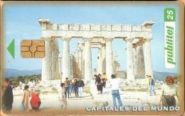 El Salvador - ELS-PUB-005A, Publitel, Athens, GEM5 (Black), 25 ₡, World Capitals, 2000, Used As Scan - El Salvador