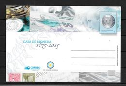 140 ANIVERSARIO DE LA CASA DE MONEDA 1875-2015 ENTERO POSTAL ENTIER INTERO TRES BON ETAT UNUSED AL FONDO EVITA PERON - Coins