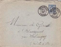 LAC Besançon (25) Pour Boussenois (Selongey-21) - 03/08/1899 - Timbre 15c YT 90 - CAD Type 84 - Institution Sainte-Marie - Marcophilie (Lettres)