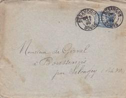 LAC Besançon (25) Pour Boussenois (Selongey-21) - 05/10/1899 - Timbre 15c YT 90 - CAD Type 84 - Institution Sainte-Marie - Marcophilie (Lettres)