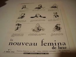 ANCIENNE PUBLICITE LE NOUVEAU FEMINA DE LUXE 1954 - Habits & Linge D'époque