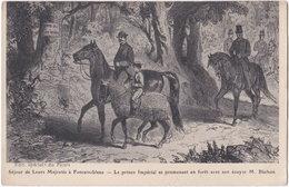 77. FONTAINEBLEAU. Séjour De Leurs Majestés. Le Prince Impérial Se Promenant En Forêt - Fontainebleau