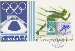 Carte Maximum  1er  Jour   MONACO    Jeux   Olympiques   SARAJEVO   1984 - Invierno 1984: Sarajevo