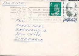 Spain Por Avion TELDE Las Palmas Gran Canaria 1982 Cover Letra SKIVE Denmark J. R. Jimienez Stamp - 1931-Hoy: 2ª República - ... Juan Carlos I