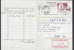 Denmark DANSKE FELTARTILLERI Forening FYN Giro Card Karte 1982 To KERTEMINDE Stålstik 50 Years Issue (Cz. Slania) - Briefe U. Dokumente