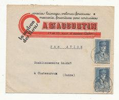 """ALGÉRIE 2 Pétain 1F (Yv 168) Perforés S/lettre Entête """"la Maison Des Tissus A ST AUGUSTIN"""" Oran 12/6/41 Pour Châteauroux - Algeria (1924-1962)"""