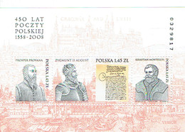 BF MNH (Mi 180, YT 177) 450 Lat Poczty Polskiej (Provana, Zygmunt II August, Montelupi) (1558-2008) - Blocks & Sheetlets & Panes