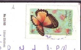 Butterfly Stamp  '80  Maldives On Postcard (a) - Maldive (1965-...)