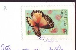 Butterfly Stamp  '80  Maldives On Postcard (b) - Maldive (1965-...)