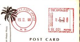 Red Markstamp Val. 5.00 Pilipinas '90  On Postcard - Filippine