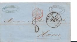 Mex.191 Mexico,  / Tuspan 1860 Per US Schiffspost Nach N.Y. Und Franz. Schiffspost Weiter Nach Paris - Mexiko