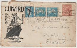 ESC Cunard Line Affranchissement Mixte France/Angleterre OMEC Le Havre 1926 - 1921-1960: Période Moderne