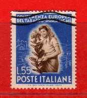 ITALIA ° - 1950 -  TABACCO.  Lire 55.  Sass. 631.   Vedi Descrizione - 1946-60: Used